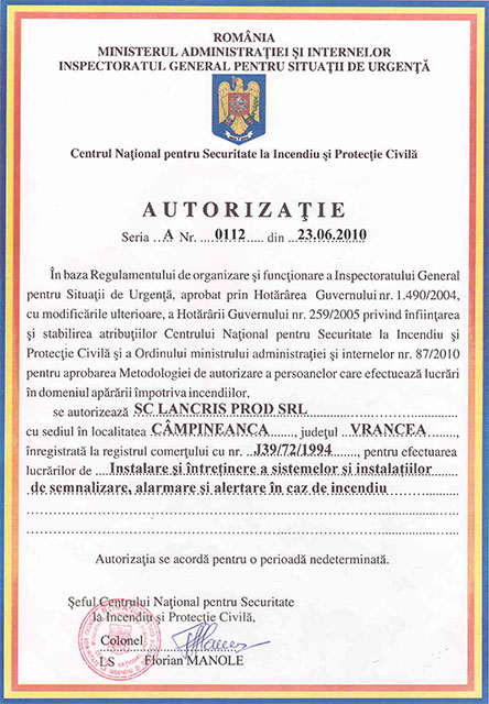 Lancris Prod: certificare Detecţie