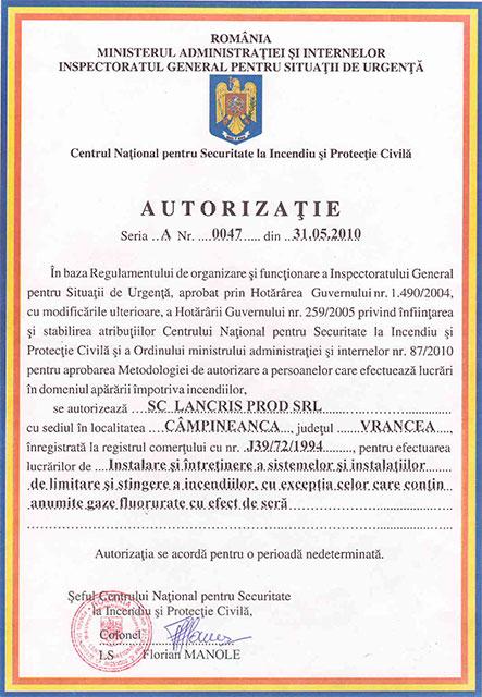 Lancris Prod: certificare Hidranţi