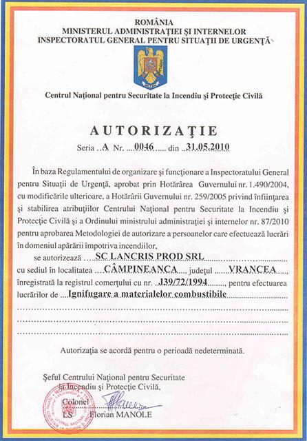 Lancris Prod: certificare Ignifugare