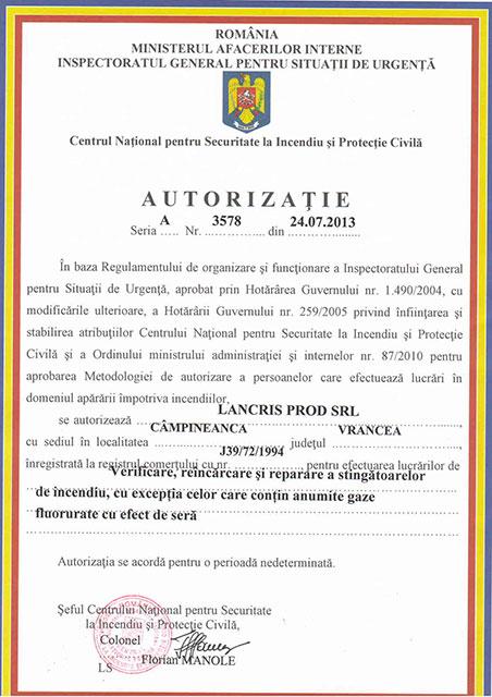 Lancris Prod: certificare Stingătoare